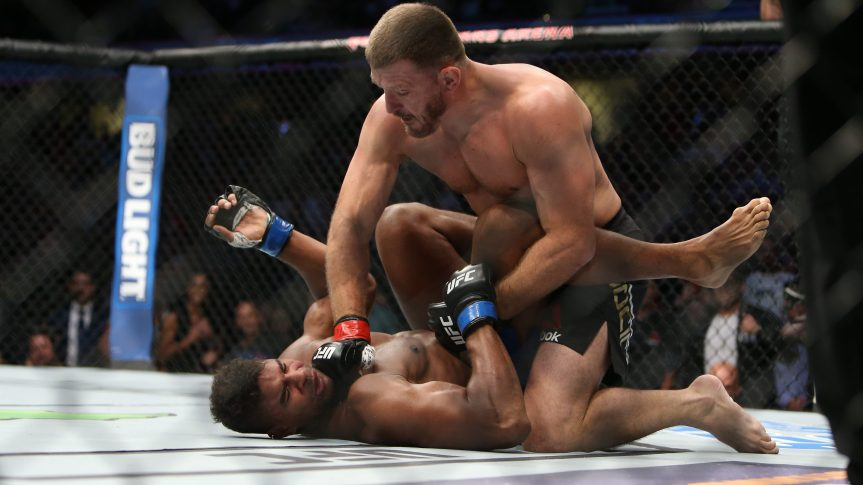 CLEVELAND, OH - SEPTEMBER 10: Stipe Miocic punches Alistair Overeem during the UFC 203 event at Quicken Loans Arena on September 10, 2016 in Cleveland, Ohio. (Photo by Rey Del Rio/Getty Images)
